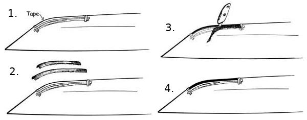 How to install dynel/graphite rubstrips on a kayak