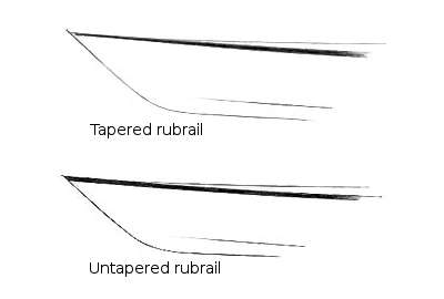 Tapered rubrails give a kayak a more elegant appearance