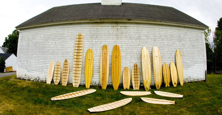 Grain hollow wooden surfboards