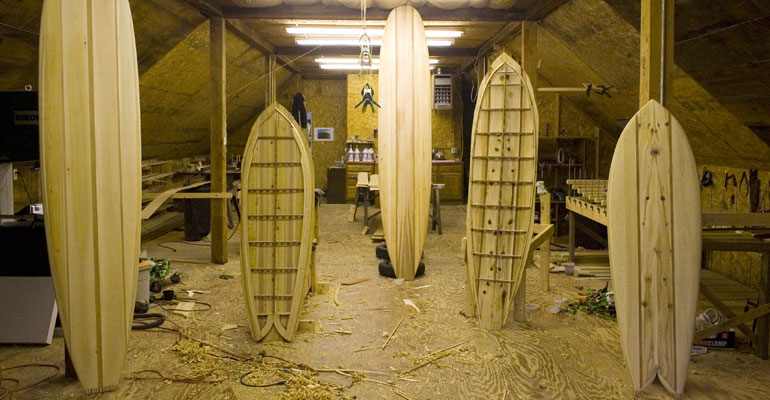Hollow wooden surfboards by Grain