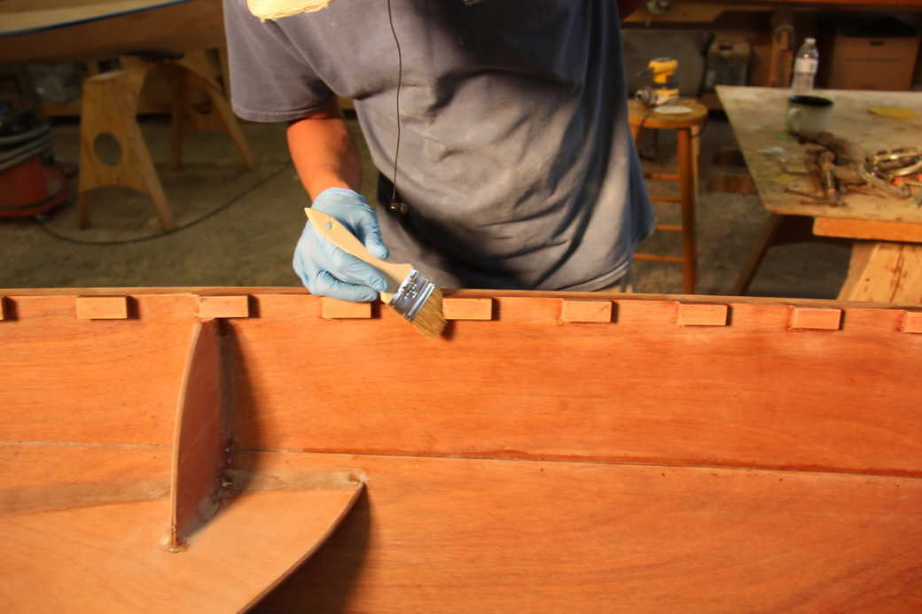 Seal the ends and undersides of the spacer blocks with epoxy