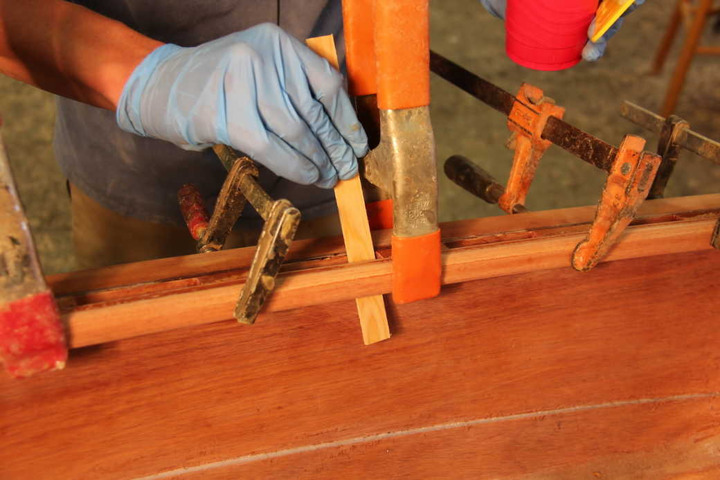 Remove excess epoxy from between and around the spacer blocks