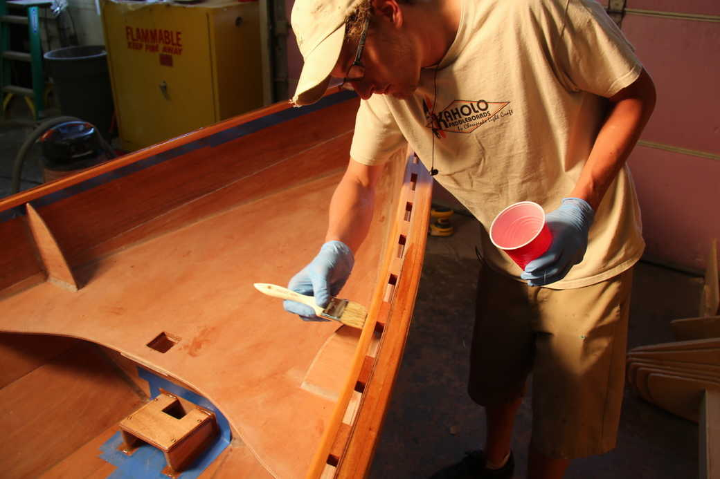 Coat the inwales and outwales with epoxy