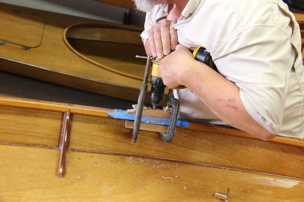 Drill the holes for the rowlock pins through the inwales