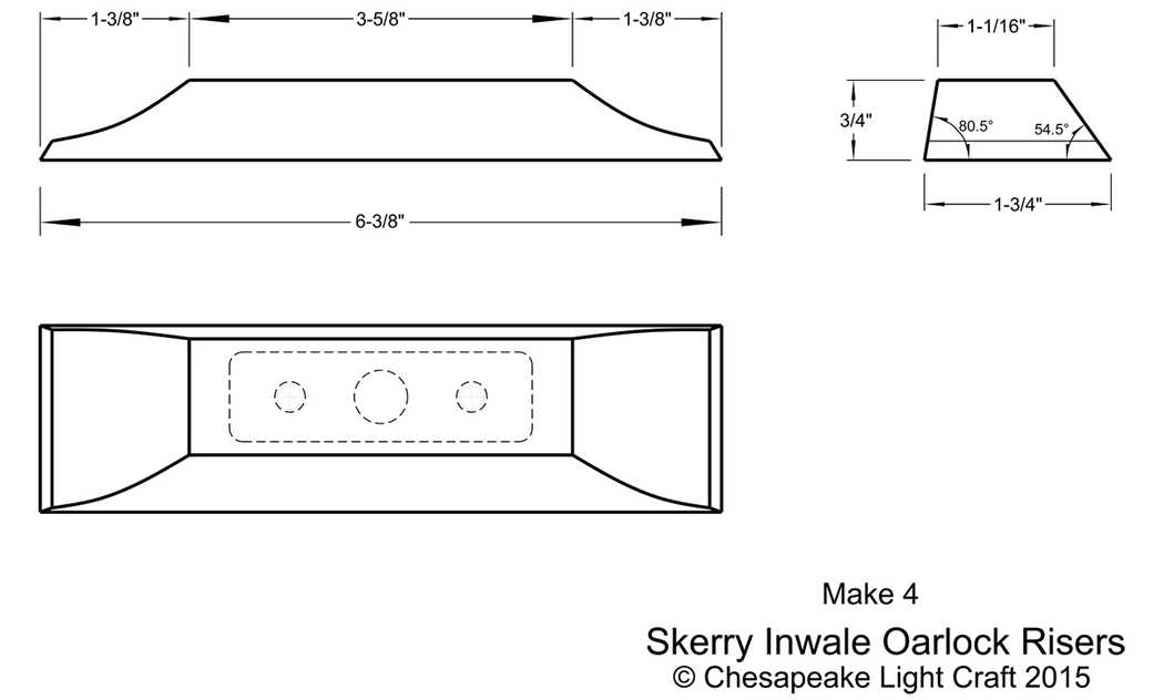 Rowlock risers to fit the Skerry's optional broken inwales