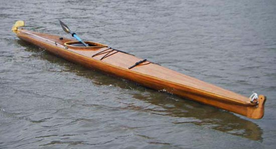 Aleutesque cedar-strip kayak inspired by the Aleut baidarka