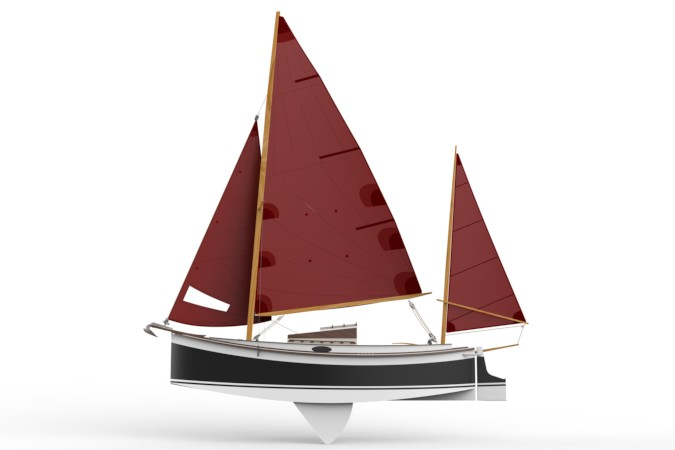 Autumn Leaves wooden canoe yawl designed for engineless coastal cruising by sail and oars