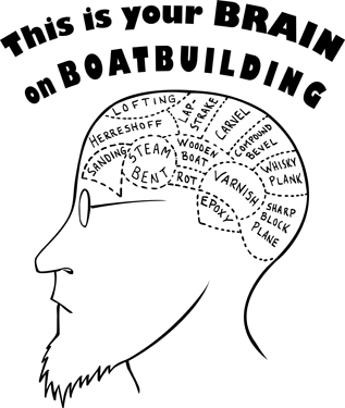 Boatbuilding brain t-shirt