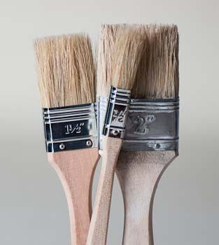 Pure bristle disposable brushes for paint, varnish and epoxy