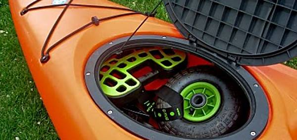 C-Tug canoe or kayak trolley that fits in a kayak hatch