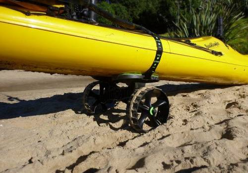 C-Tug canoe or kayak trolley with sand wheels that don't puncture