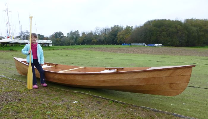 A newly-built Canadian canoe ready for launch