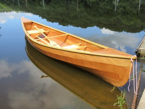 A lightweight wooden Canadian canoe built from a kit