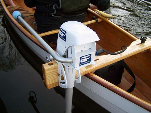 Ash motor mount for a canoe