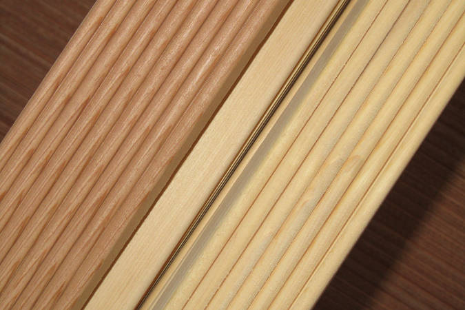 Cedar strips in a mixture of Western Red Cedar and Alaskan Yellow Cedar