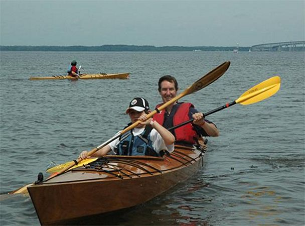 Double wooden kayak built from a kit from fyne boat kits