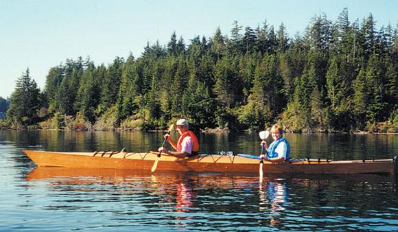 Chesapeake Double wooden expedition kayak made at home from plans or a kit