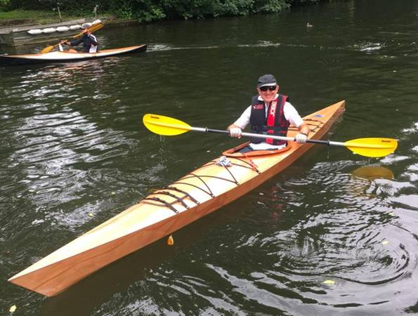 A Chesapeake 16LT wooden kayak built on a course at Fyne Boat Kits