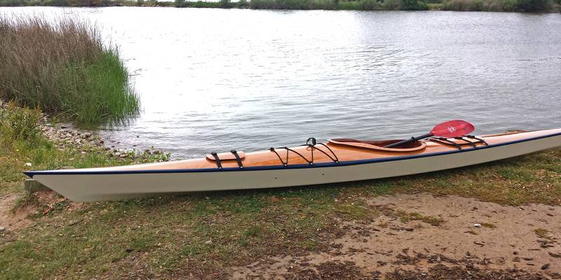 The Chesapeake 17LT Light Touring wooden sea kayak for day paddling and weekend trips