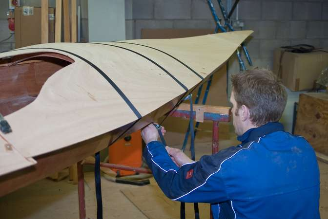 Wooden deck on a sea kayak