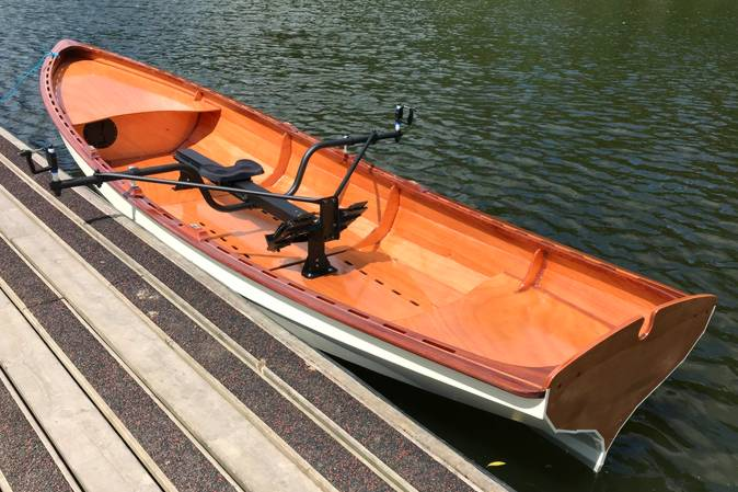 The Chester Yawl set up for sliding-seat rowing