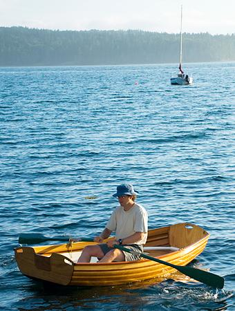 Coot is a cedar-strip rowing pram that makes a handy yacht tender