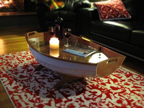 Cradle boat coffee table