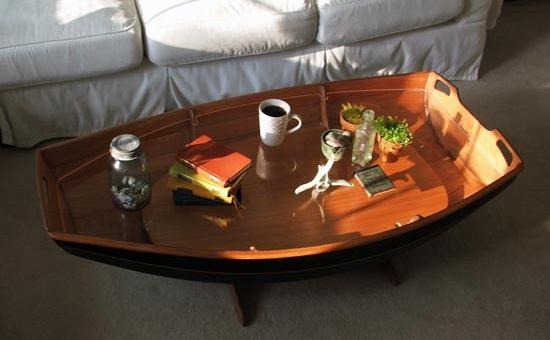Boat Hull Cocktail Table with Trestle Base and Tempered ... |Dinghy Coffee Table