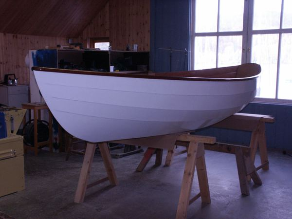 Clinker bow of wooden dinky dory from Fyne
