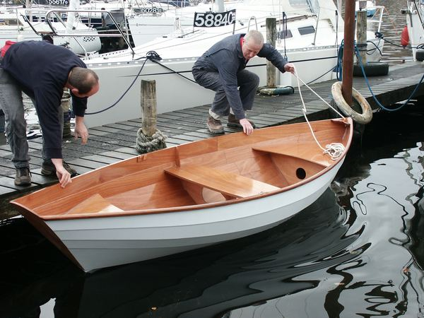 Large home made wooden rowing dory