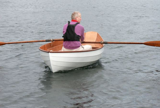 Self made wooden rowing dory built from a kit