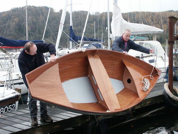 Lightweight wooden self build rowing dory from Fyne Boat Kits