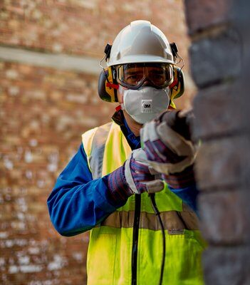 The 3M 8835+ respirator is designed to fit well with safety glasses and ear defenders