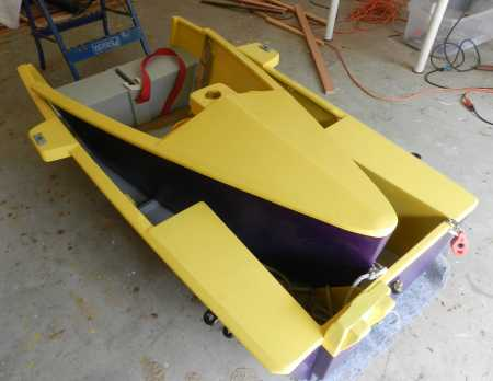The Duo dinghy can be built as a nesting take-apart boat that saves storage space