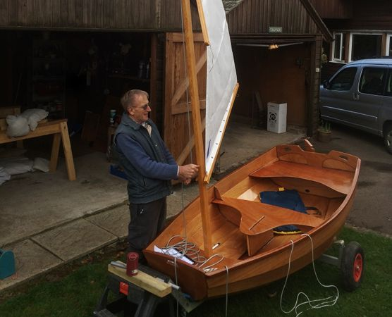 The Eastport Pram is a clinker-style wooden sailing and rowing dinghy
