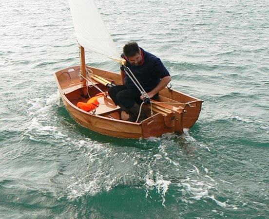 Fast sailing in an Eastport pram from Fyne Boat Kits