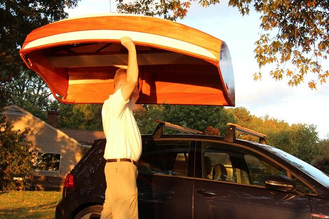 The Eastport Ultralight Dinghy is light enough to easily lift onto a car roof rack single-handedly
