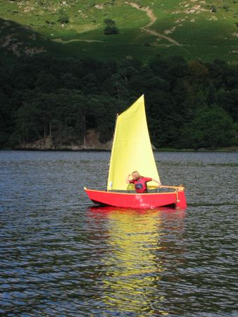 Messing about under sail in an Elterwater pram