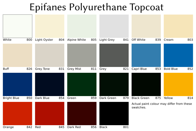 Colour swatches for Epifanes Polyurethane Topcoat