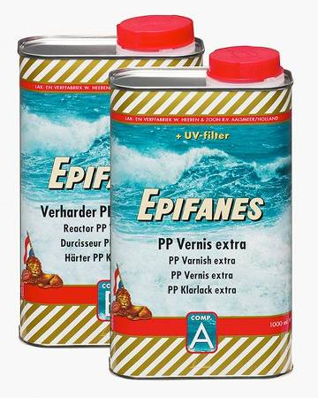 Epifanes PP Varnish Extra is a fast-drying two-component varnish for all types of wood, with excellent impact and abrasion resistance