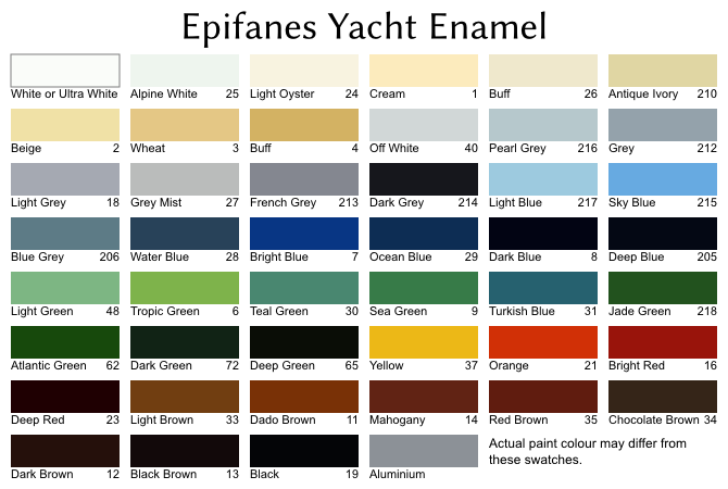 Colour swatches for Epifanes Yacht Enamel