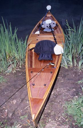 Wooden fly fishing canoe built from plans