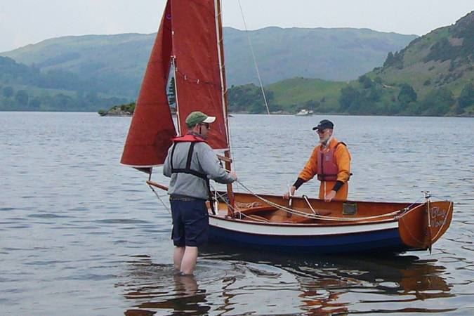 Lightweight clinker style Fyne Four sailing dinghy