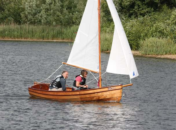 Nimble kit-built wooden sailing boat