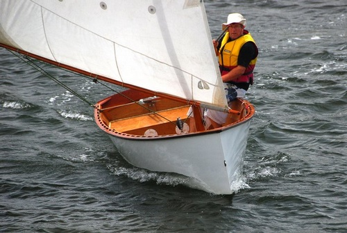 Goat Island Skiff with its large balanced lug rig