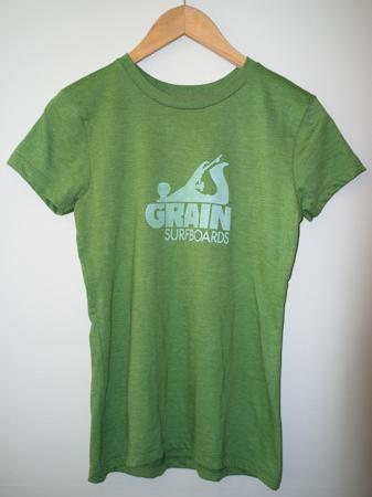 Grain Surfboards logo t-shirt - women's green