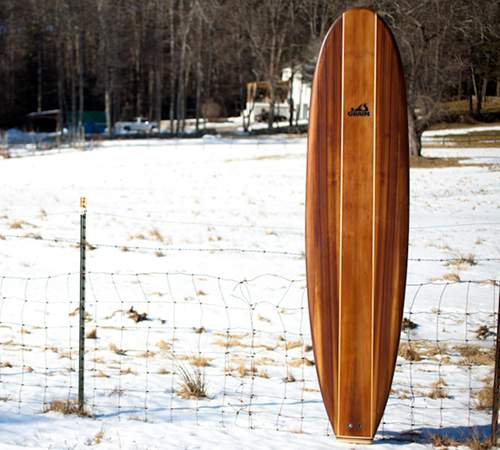 Steamer hollow wooden surfboard