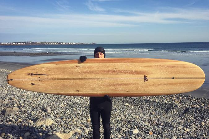 Waterlog hollow wooden surfboard