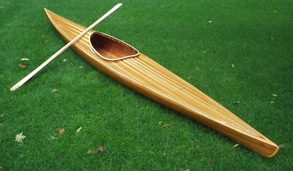Great Auk cedar strip sea kayak is simple, roomy and stable