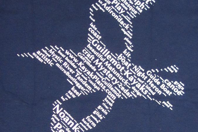 Guillemot Kayaks t-shirt word cloud detail